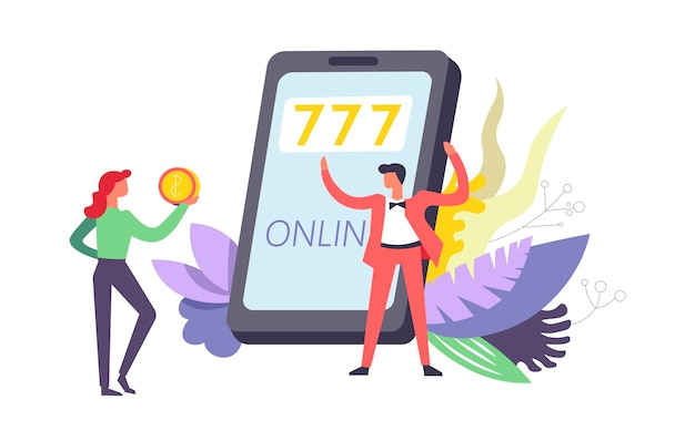 777 giochi d'azzardo online tramite internet per telefono Vettore Premium
