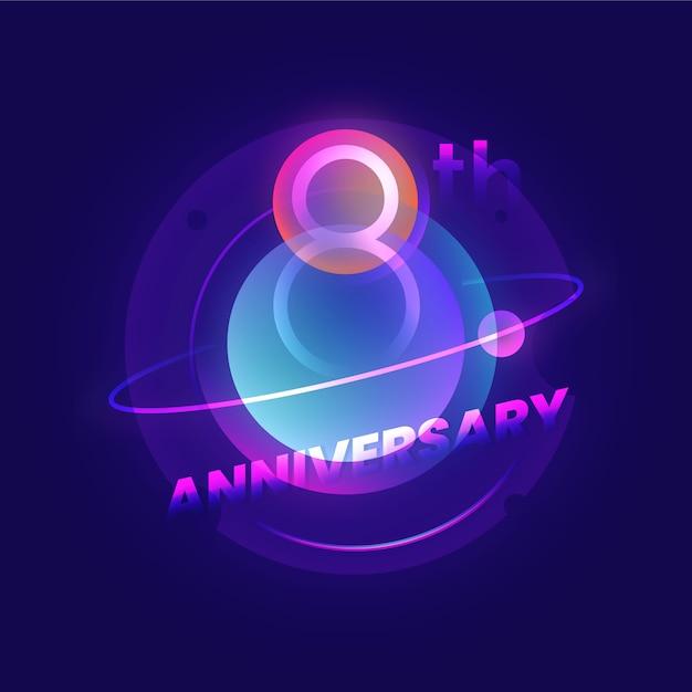 8 ° anniversario Vettore Premium