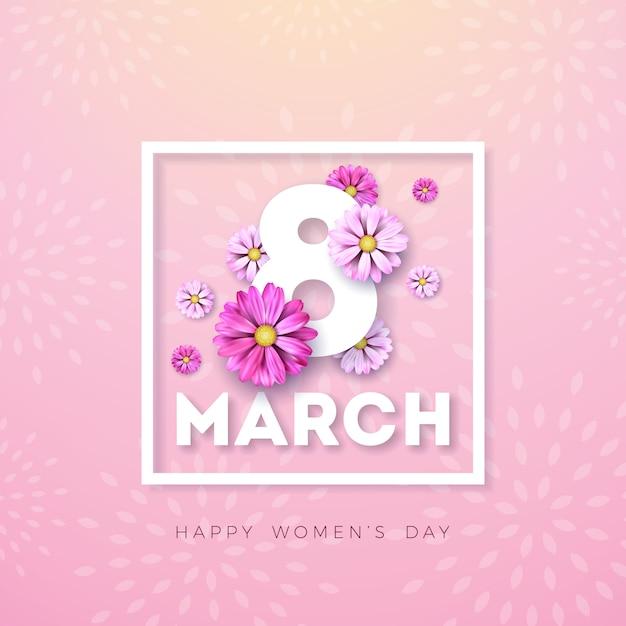 8 marzo. cartolina d'auguri floreale di felice giorno delle donne. illustrazione di festa internazionale con disegno floreale su sfondo rosa. Vettore gratuito
