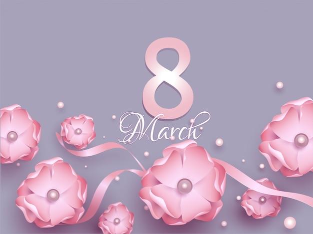 8 marzo design biglietto di auguri decorato con fiori di carta rosa, Vettore Premium