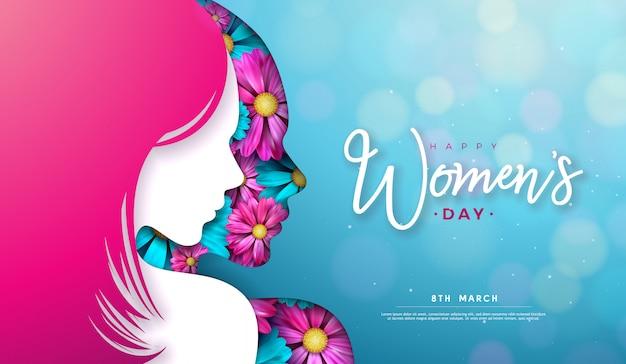 8 marzo. disegno della cartolina d'auguri per la festa della donna con silhouette di giovane donna e fiori. Vettore gratuito
