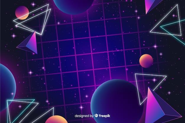 80 stile di sfondo con forme geometriche Vettore gratuito