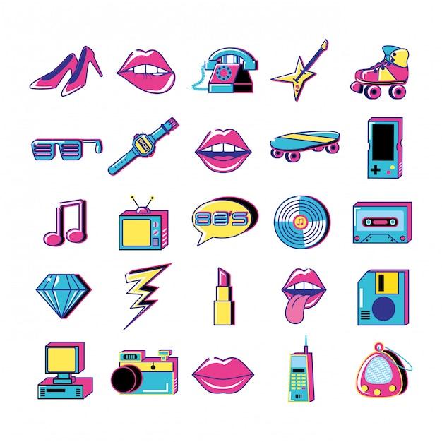 80 y 90 pop art set di icone Vettore Premium