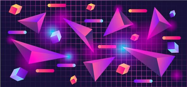 80s 3d forme geometriche sullo sfondo Vettore Premium