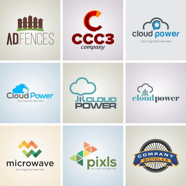 9 insieme di modelli di progettazione logo aziendale creativo Vettore Premium