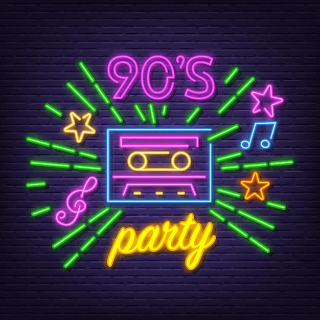 90's neon party symbol Vettore Premium