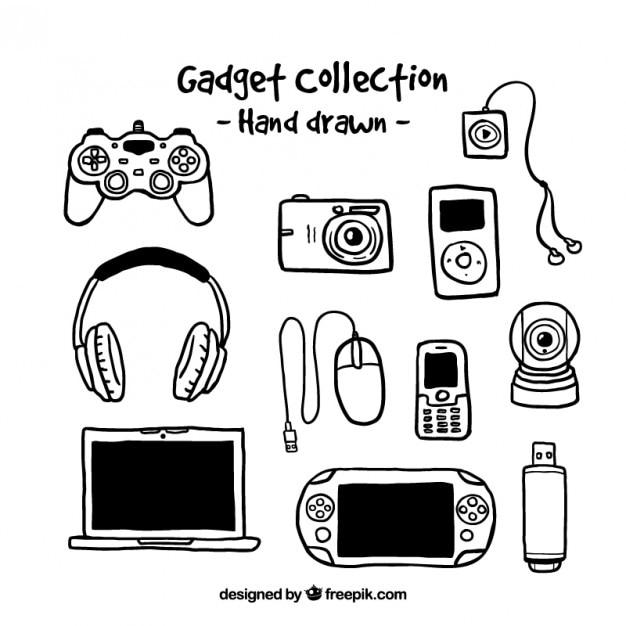 A mano collezione gadget disegnato Vettore gratuito