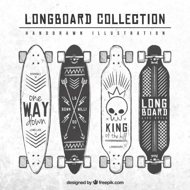A mano collezione longboard disegnato Vettore gratuito