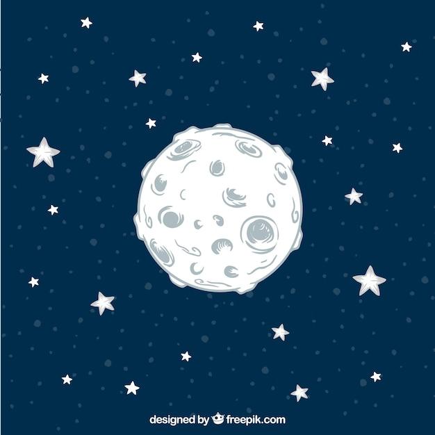 A mano di fondo luna disegnato con le stelle Vettore gratuito