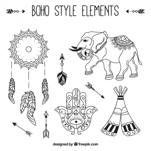 A mano elefante disegnato con elementi boho Vettore gratuito