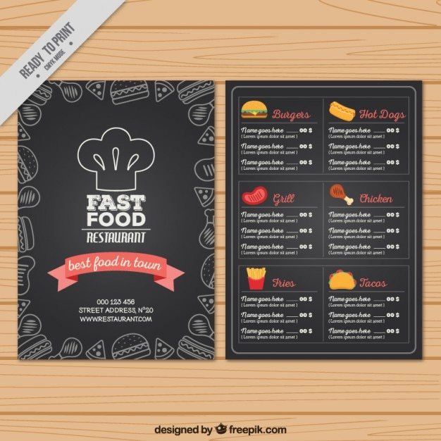 A mano menù fast food in stile lavagna Vettore gratuito
