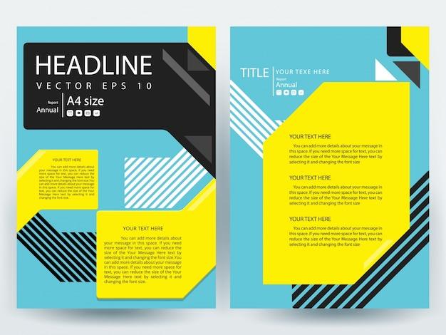 A4 brochure layout modello con nero, giallo e blu geometrico Vettore gratuito