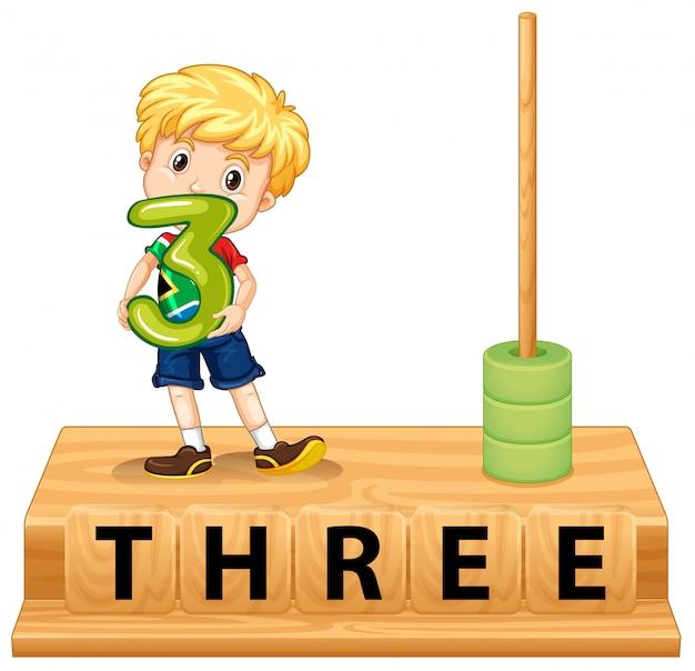 Abaco matematico numero tre Vettore gratuito