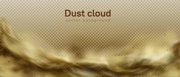 Abbandoni il fondo della tempesta di sabbia, nuvola polverosa marrone su trasparente Vettore gratuito