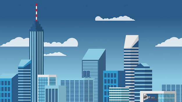 Abbellisca la vista della costruzione del grattacielo del grattacielo del centro urbano nello stile minimo di vettore di tono blu Vettore Premium