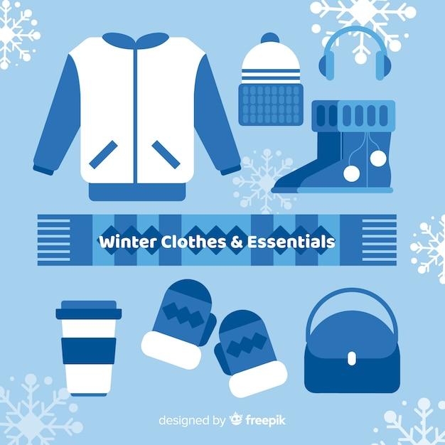 Abbigliamento invernale e collezione essentials Vettore gratuito