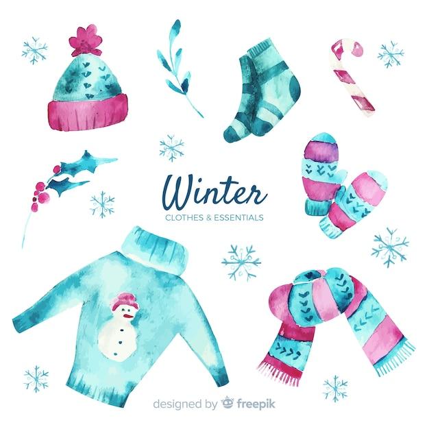 Abbigliamento invernale ed elementi essenziali dell'acquerello Vettore gratuito