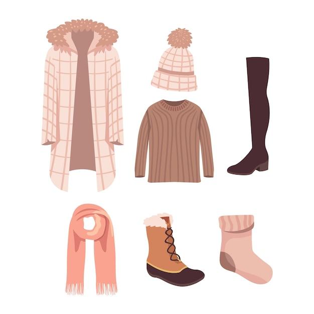 Abbigliamento invernale piatto ed elementi essenziali Vettore gratuito