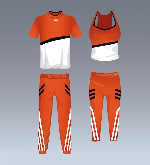 Abbigliamento sportivo per uomo e donna   Vettore Premium