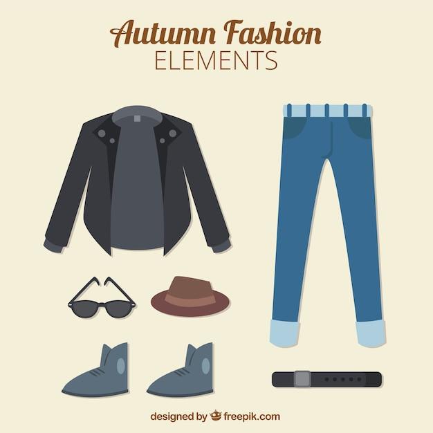 Abbigliamento uomo autunno in stile piatto Vettore gratuito
