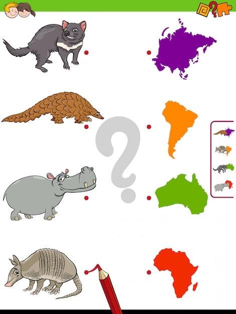 Abbina il compito educativo di animali e continenti per i bambini Vettore Premium