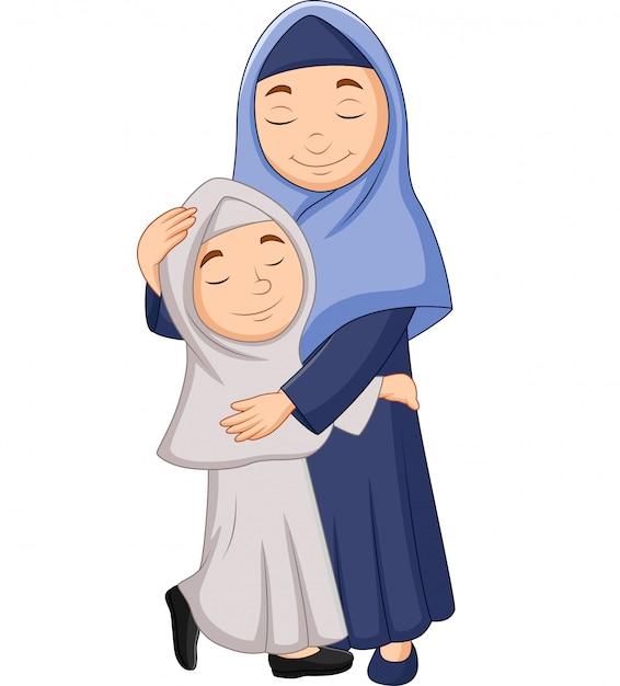 Abbracciare della madre e della figlia musulmana Vettore Premium