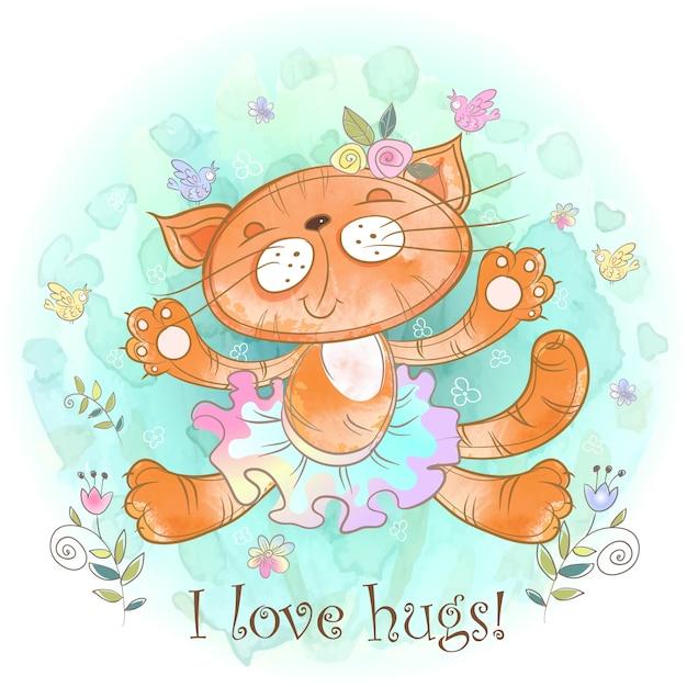 Abbraccio del gattino. cat ballerina ama coccole. Vettore Premium