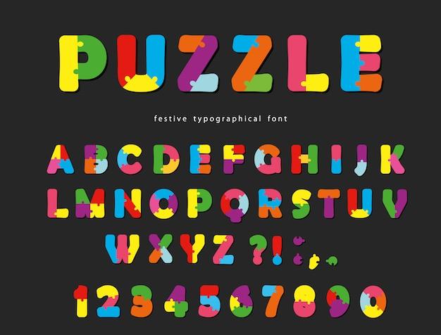 Abc lettere e numeri creativi colorati Vettore Premium