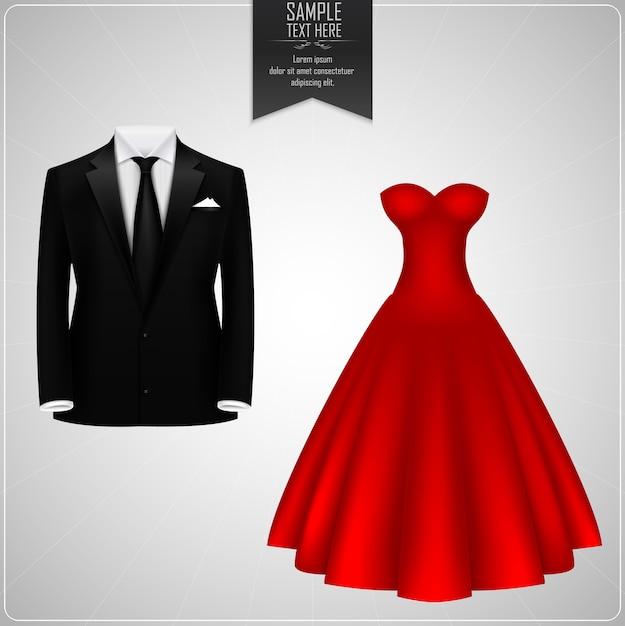 Abiti da sposo neri e abito da sposa rosso Vettore Premium