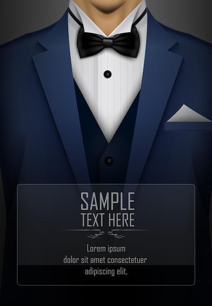 Abito blu e smoking con papillon nero Vettore Premium