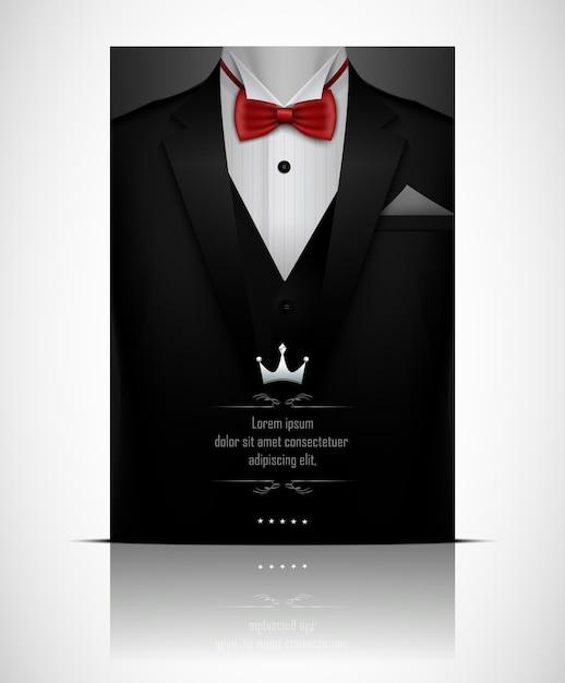 Abito nero e smoking con papillon rosso Vettore Premium