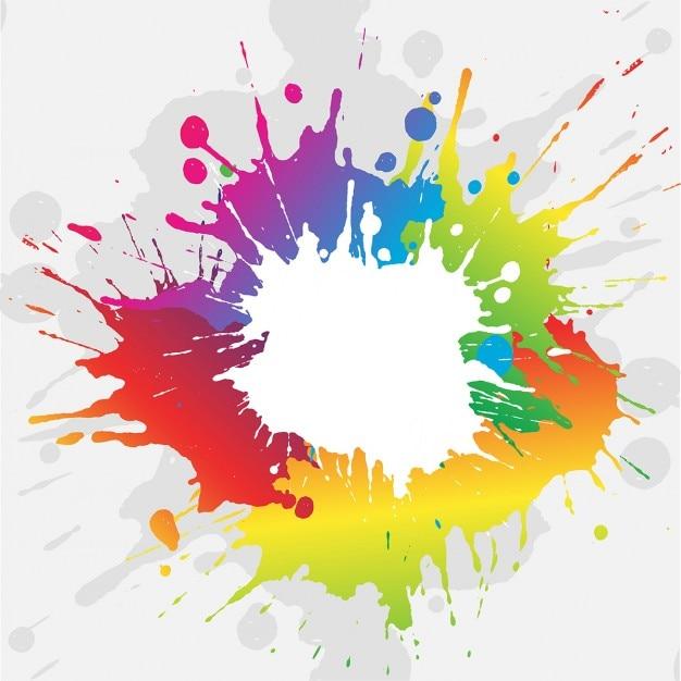 Abstract background grunge con vivaci schizzi di vernice colorata Vettore gratuito