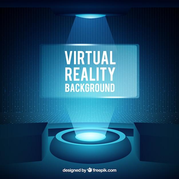 Abstract background realtà virtuale in colore blu Vettore gratuito