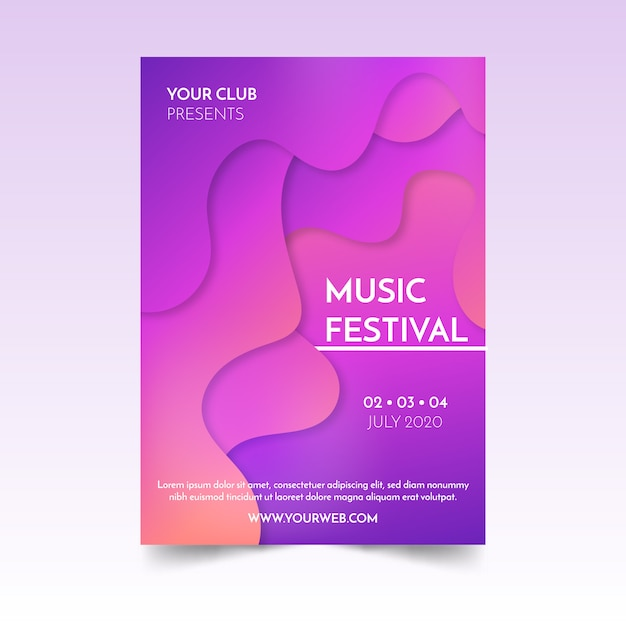 Abstract fluid music poster Vettore gratuito