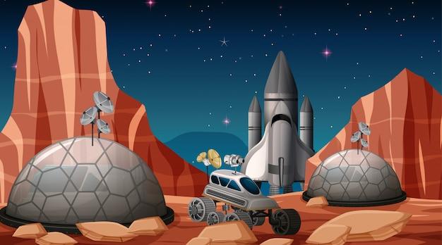 Accampamento nella scena spaziale Vettore gratuito