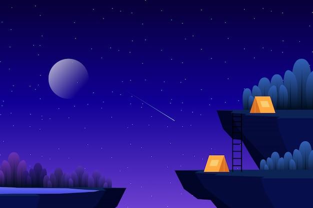 Accampandosi sul picco di altezza con l'illustrazione della foresta di notte stellata Vettore Premium