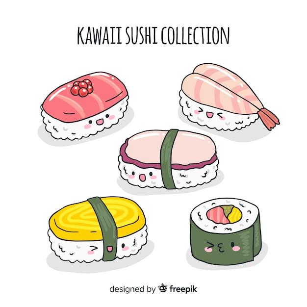 Accattivante collezione di sushi disegnata a mano Vettore gratuito