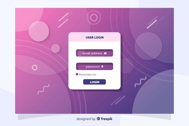 Accedi pagina di destinazione con design piatto Vettore gratuito