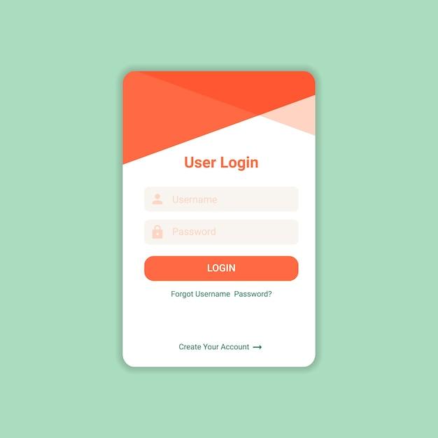Accedi ui design template vector Vettore Premium