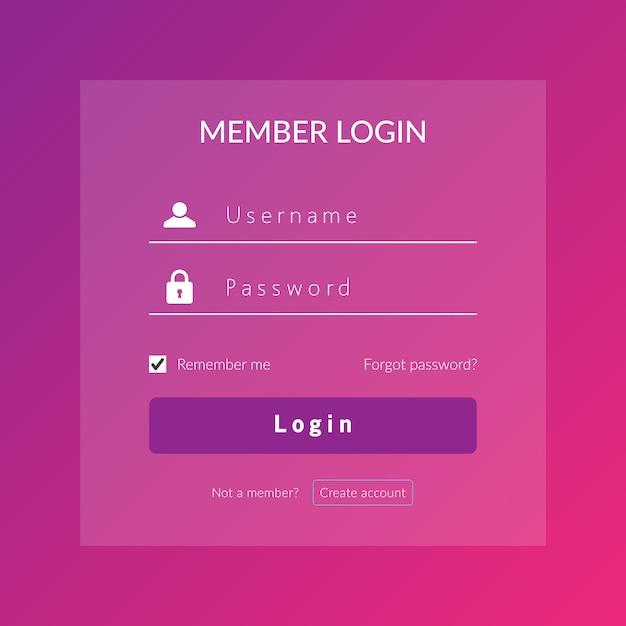 Accedi ui e ux per il web log nel modello di disegno vettoriale Vettore Premium