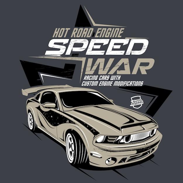 Acceleri la guerra, illustrazione di un'automobile veloce classica Vettore Premium
