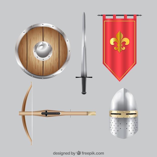 Accesori medievali con stile realistico Vettore gratuito