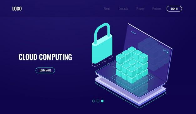 Accesso al database, protezione sicura dei dati, sicurezza dei dati, sala server, cloud computing Vettore gratuito