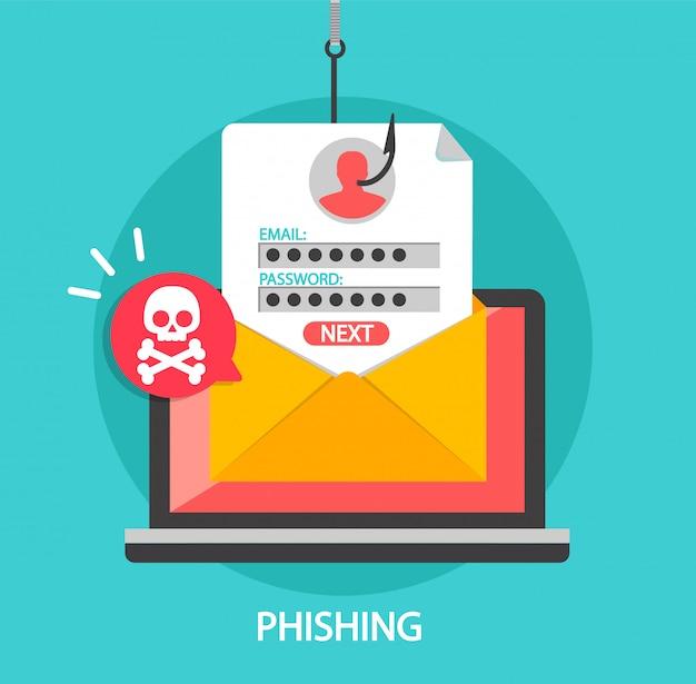 Accesso al phishing e password sul gancio di pesca Vettore Premium