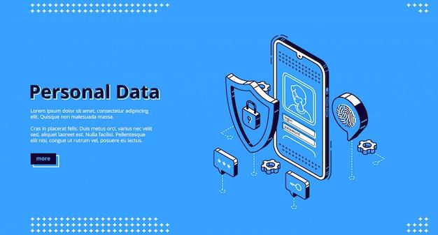 Accesso online alla pagina di destinazione isometrica dei dati personali Vettore gratuito