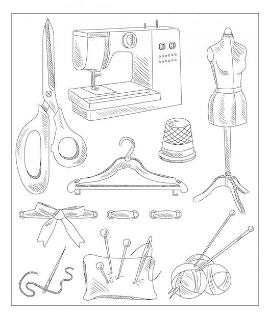 Accessori da cucire in stile disegnato a mano Vettore Premium