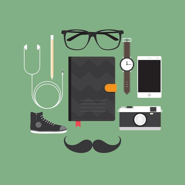 Accessori hipster Vettore Premium