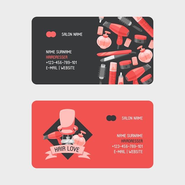 Accessori per parrucchieri professionali per biglietti da visita Vettore Premium