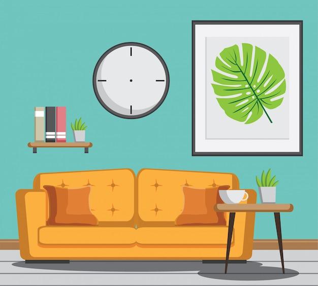 Accogliente soggiorno con divano giallo, libro, tavolo, cornice su muro di zecca. Vettore Premium