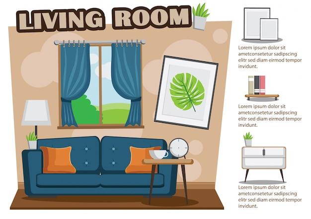 Accogliente soggiorno con divano, libro, tavolo, cornice sul muro marrone. Vettore Premium